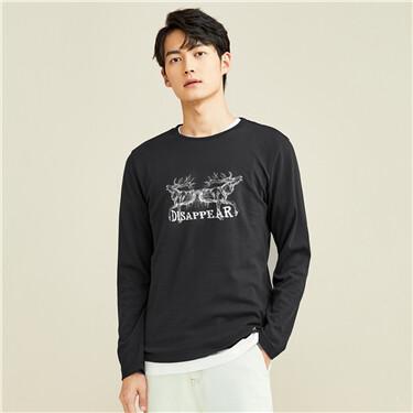 趣味印花纯棉圆领长袖T恤