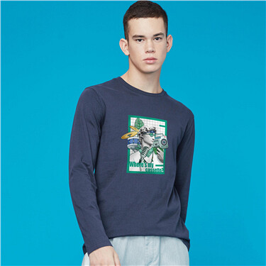 Printed crewneck long-sleeve tee
