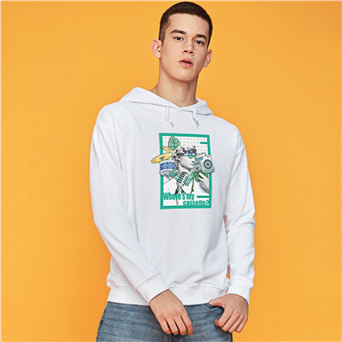 Printed graphic crewneck long-sleeve hoodie