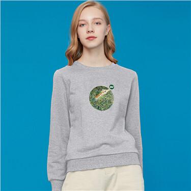 Loose crewneck printed sweatshirt