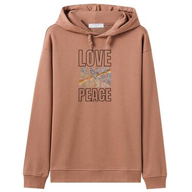Loose crewneck printed hoodie