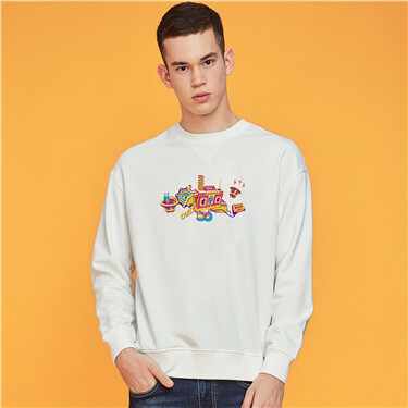 Printed fleece-lined sweatshirt