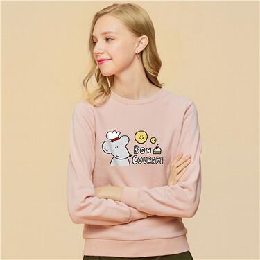 Solid printed crewneck sweatshirt