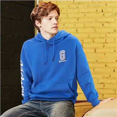 Letter fleece-lined kanga pocket hoodie