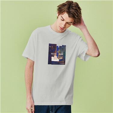 Printed crewneck short-sleeve tee