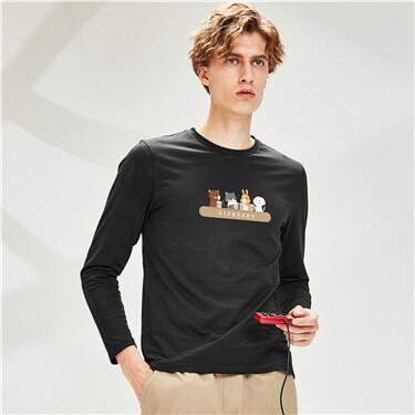 Printed Cotton Crew Neck Long-sleeves Tee