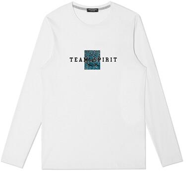 Printed cotton o-neck long-sleeve tee