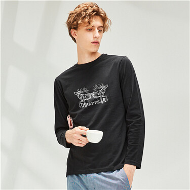 Printed cotton o-neck long-sleeve tee