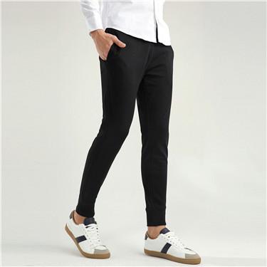 簡約素色抽繩腰頭束口休閒運動褲