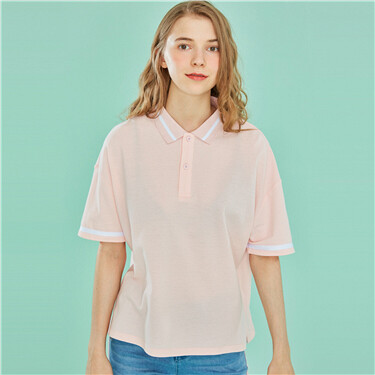 Contrast-color cotton loose polo