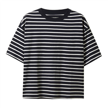 Striped loose fitting crewneck short-sleeve tee