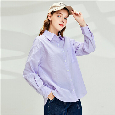 Single Patch Pocket Stripe Shirt