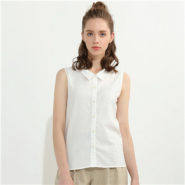 Solid linen cotton vest shirt