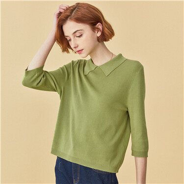 Polo collar three-quarter sleeves knitted wear
