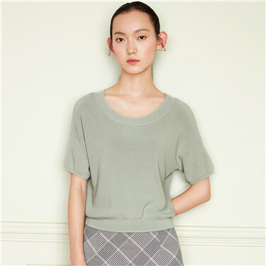 Drop-shoulder sleeve crewneck knitted tee