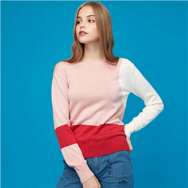 Contrast crewneck knitted sweater