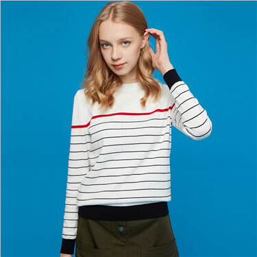 Crewneck cotton stripe knitwear