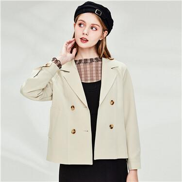 Flat collar banded-waist jacket