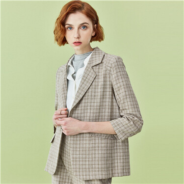 Plaid long-sleeve suit jacket