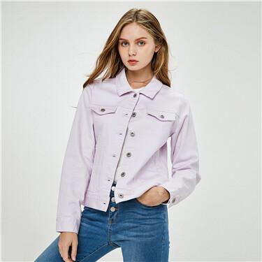 Stretchy loose turn-down collar denim jacket