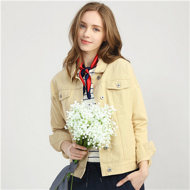 Dropped-shoulder sleeve pocket jacket
