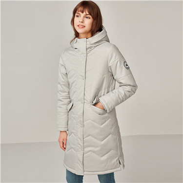 Badge hooded long quilted overcoat