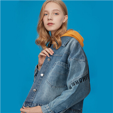 Printed letters denim jacket