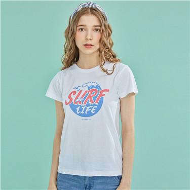 趣味图案印花纯棉圆领短袖T恤