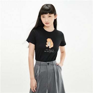 小动物印花纯棉圆领短袖T恤