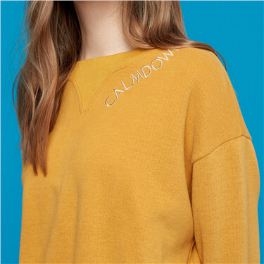 Letter loose longer hem at back sweatshirt