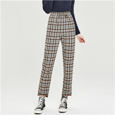 Plaid elastic waistband pants