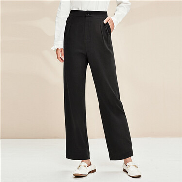 Roll-up cuffs wide-leg casual pants