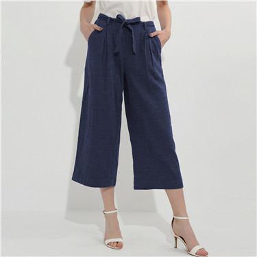 Linen-cotton wide-leg pants