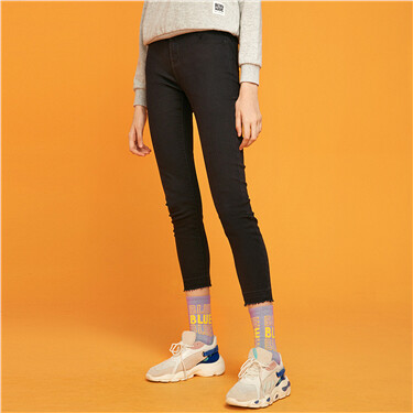Mid rise slim tapered jeans