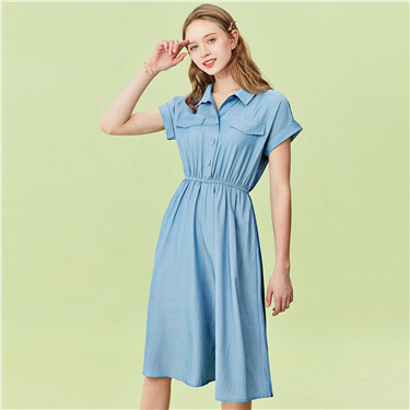 Short-sleeve flap pockets denim dress
