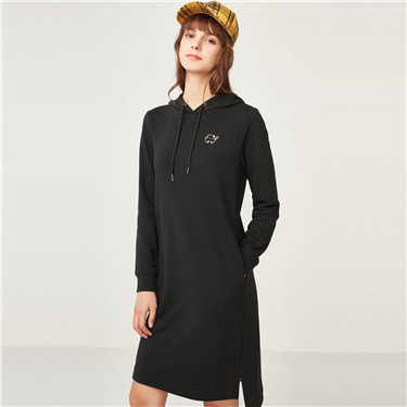 Embroidered animal sweatshirt dress
