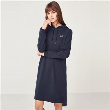 Embroidered animal sweatshirt dress