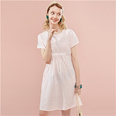 Cotton-linen crewneck loose dress