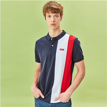 Contrast Lycra Stretchy Pique Polo Shirt