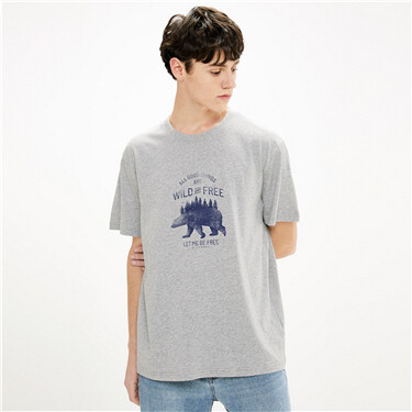 纯棉趣味印花圆领短袖T恤