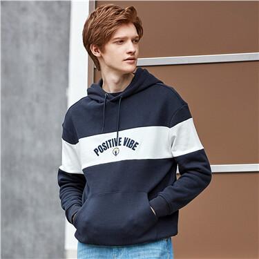 Letter contrast long-sleeve hoodie
