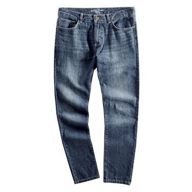 时尚猫须洗水丹宁直筒中腰牛仔裤