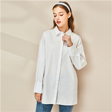 Cotton mid-long long-sleeve shirt