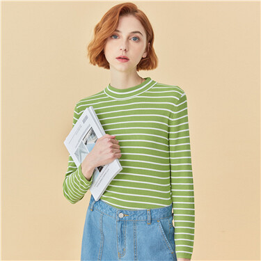 Mockneck stripe sweater