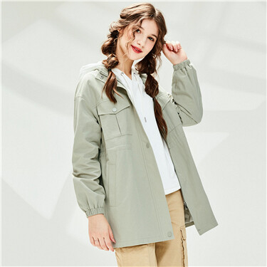 Flap pockets banded-waist mid-long jacket