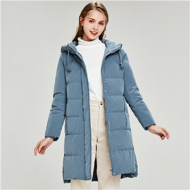Mid-long hooded 90% duck down jacket