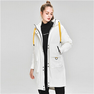 Hooded mid-long white duck down jacket