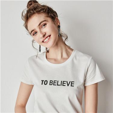 字母印花圆领短袖T恤