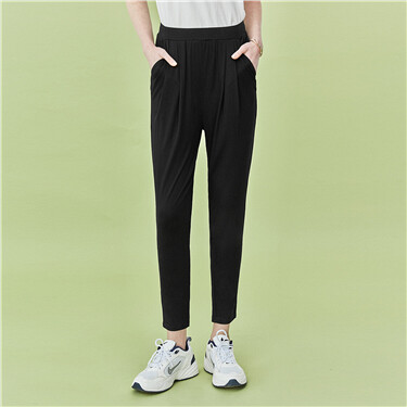 Solid elastic waistband pants