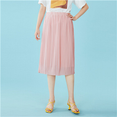 Elastic waistband pleated skirt